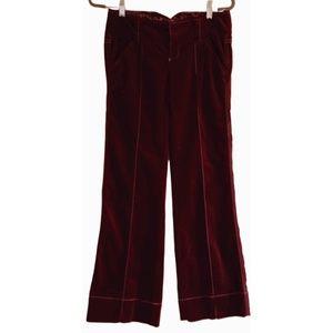Free People Burgandy Wine Velvety Pants Wide Hem